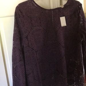 Ladies size L sheer long sleeve top